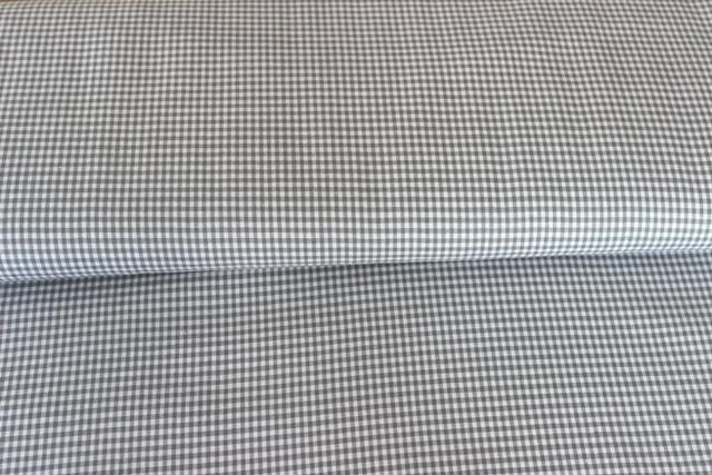 Baumwollstoff Vichy 2mm, grau / weiß
